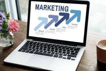 marketing displayed on a laptop