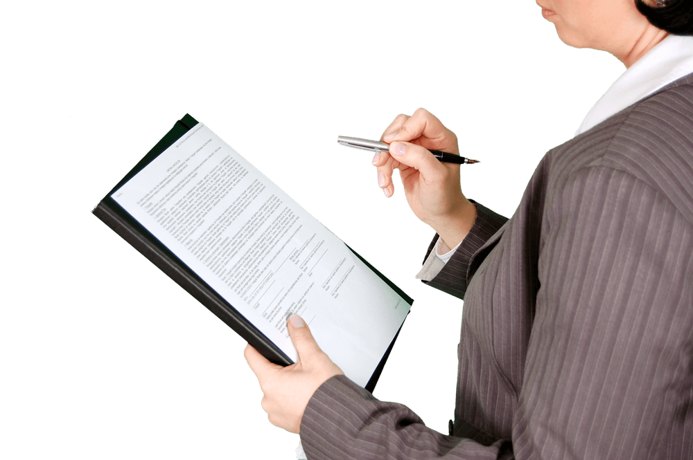 Woman with a document
