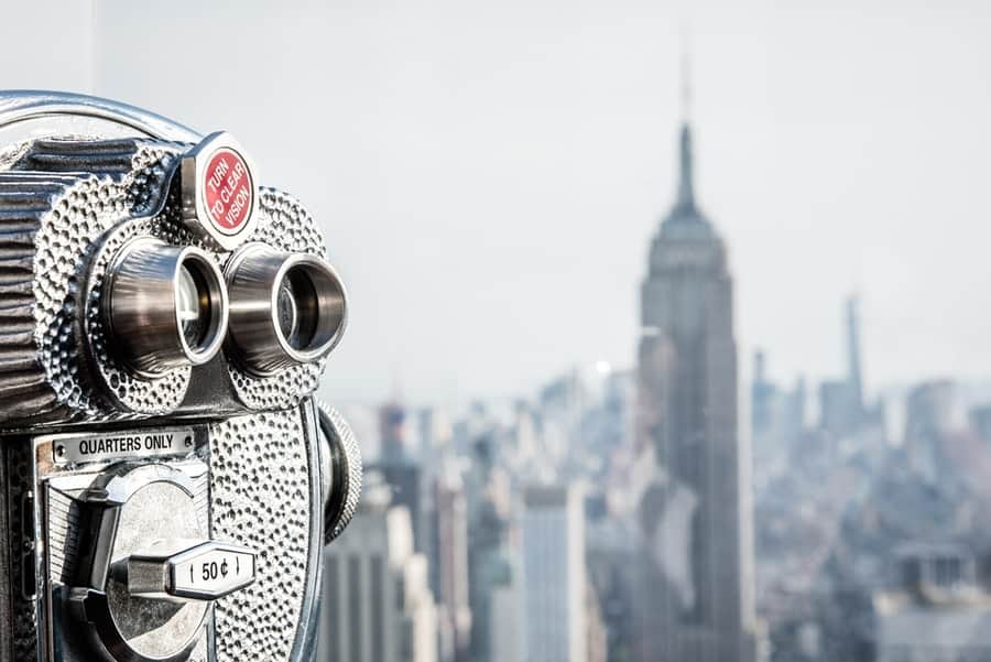 binoculars looking out to New York City