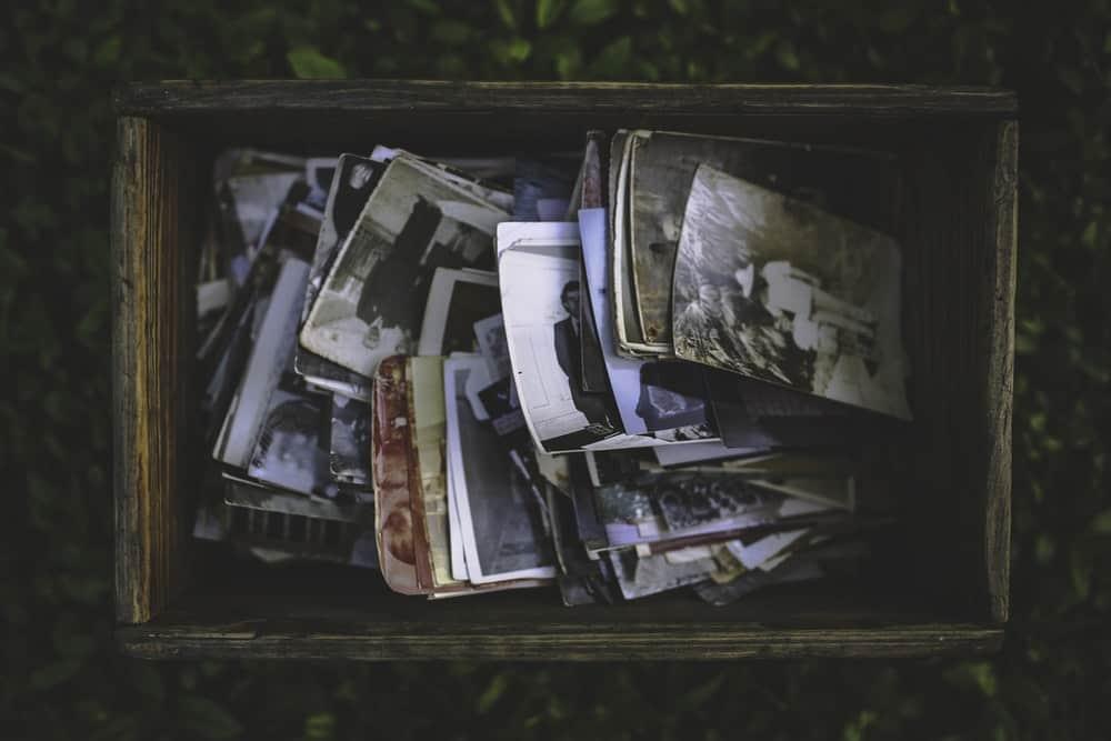 vintage photos inside a wooden box