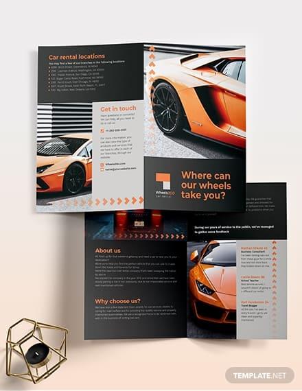 Car Rental Bi-Fold Brochure Template