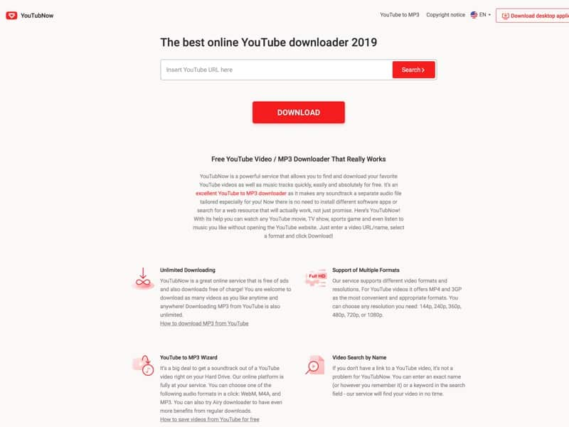 Downloading videos and MP3 from YouTube becomes very easy if you use YouTubNow. And it's free! Simply paste a YouTube link into the search box, select a video quality and click the Download button