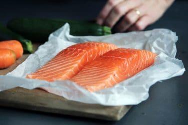 Wild Raw salmon getting ready for seasoning