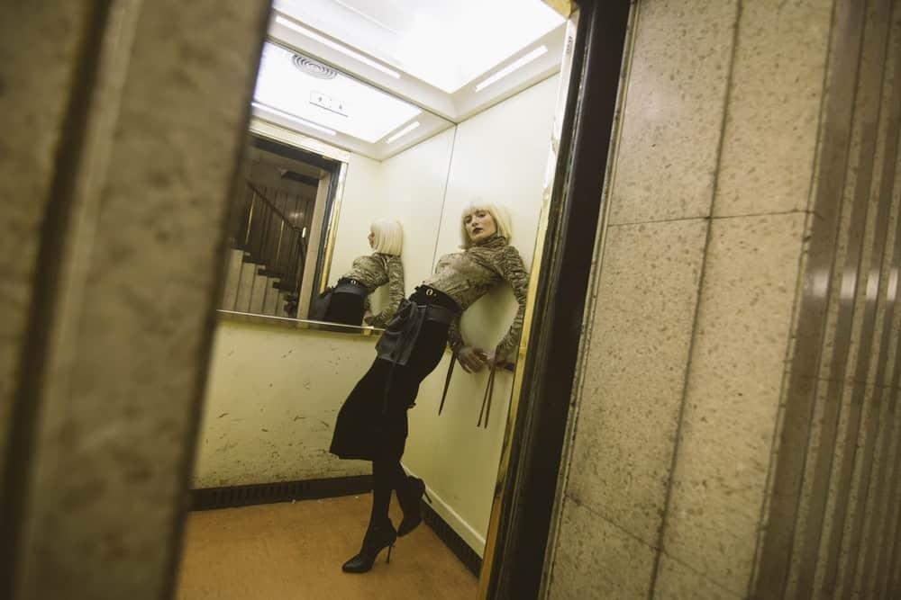 woman inside an elevator