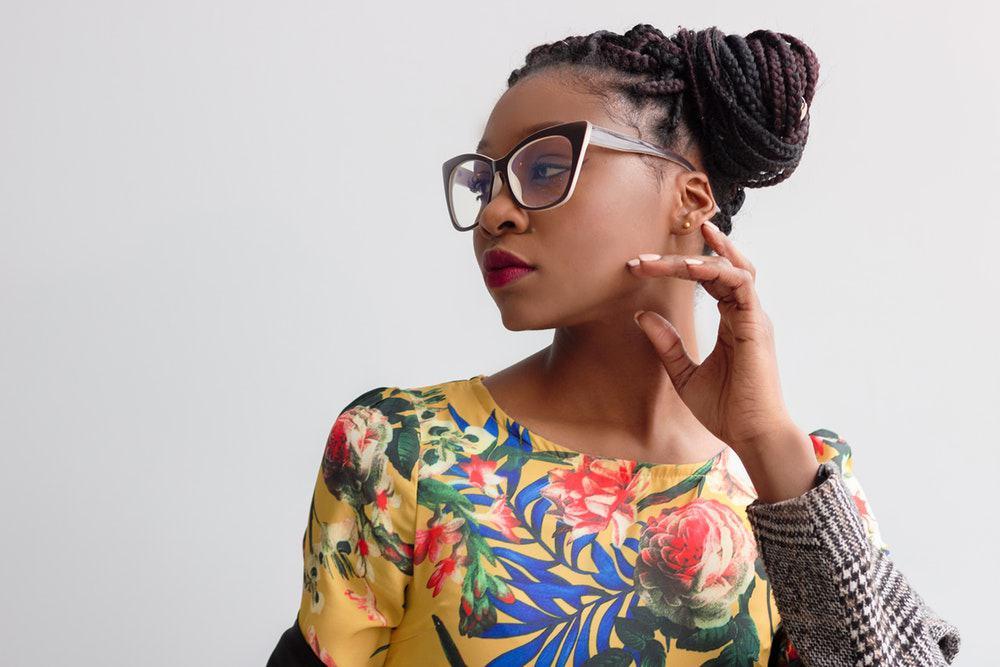 woman wearing fashionable eyeglasses