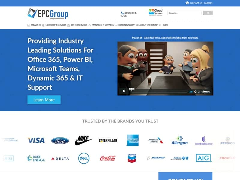 With 22 years of experience EPC Group offers industry leading Power BI consulting services as well as consulting and support services around the Microsoft Office 365 stack of technologies.