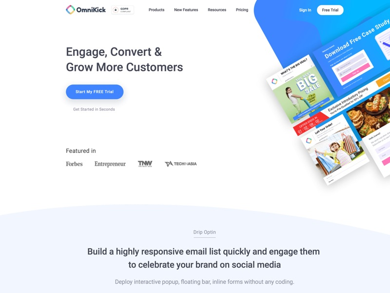 GrowthFunnel will massively build your email list, social followers, shares & customer without annoying your visitor. No coding required. Get started free!
