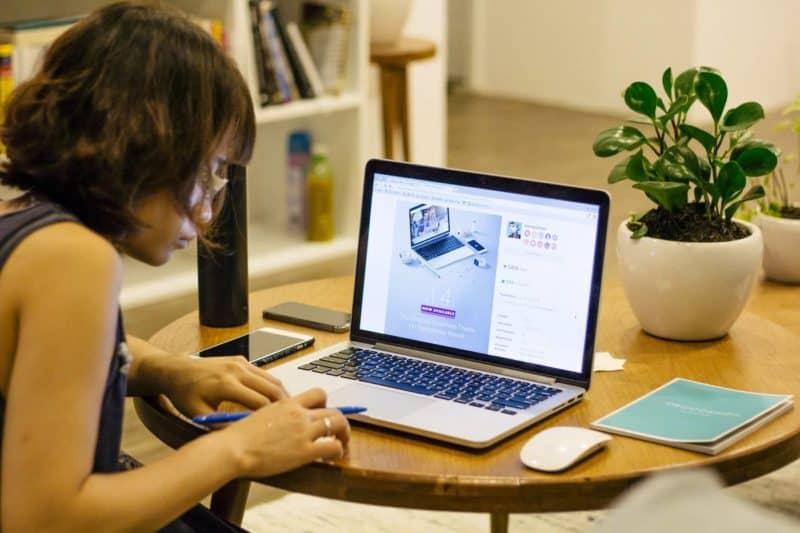 Woman working on her wordpress blog