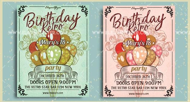 Birthday Retro Party- Free Flyer PSD Template