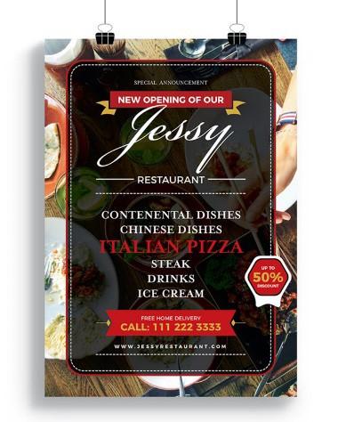 Free Restaurant Flyer-Poster Design Template