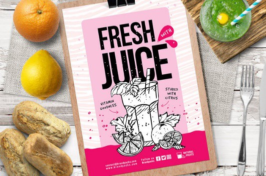 Free Juice Bar Poster & Flyer Template
