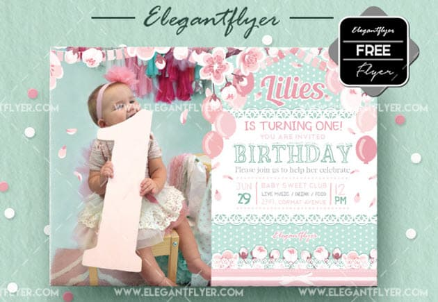Birthday Party v12 – Free Invitation PSD Template