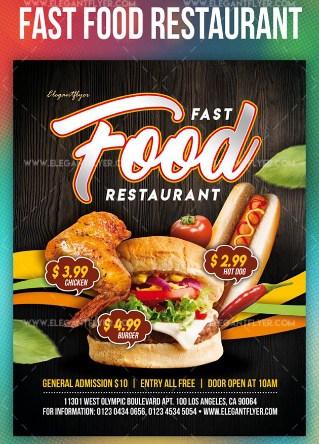 Fast Food Restaurant – PSD Flyer Template + Facebook Cover + Instagram Post
