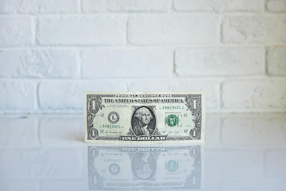 1dollar banknote on white surface