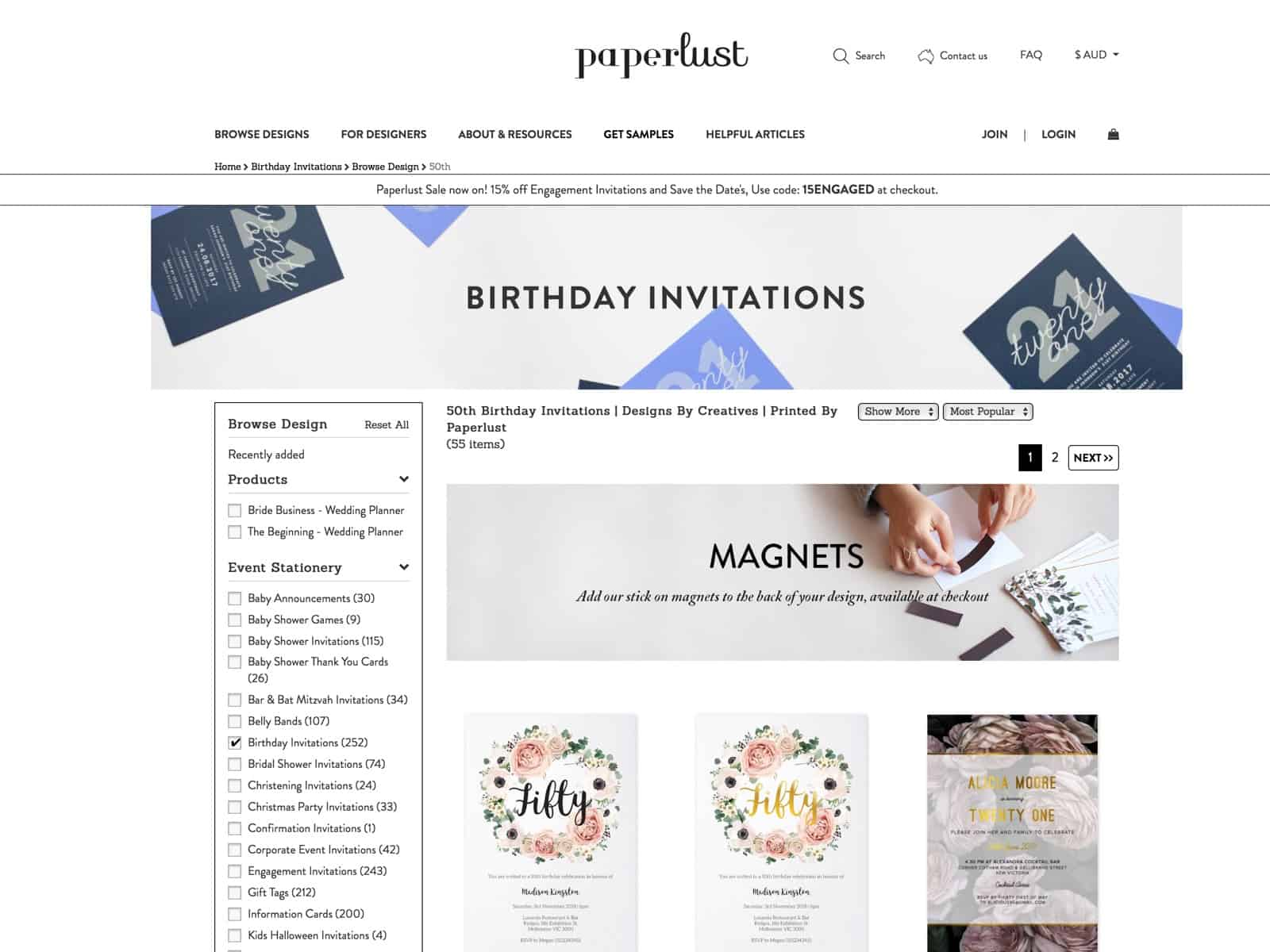 Shop 50th birthday invitations, from Australia's best independent designers. Free express shipping and envelopes with every order!