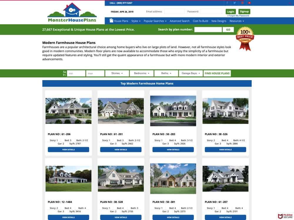 Modern Farmhouse Plans – Home Floor Plans & Designs – MonsterHousePlans.com