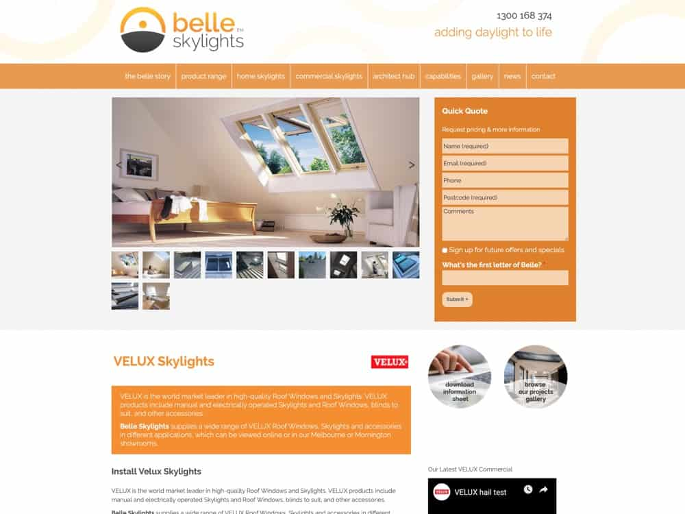 Velux Skylights Melbourne | Product Range | Belle Skylights
