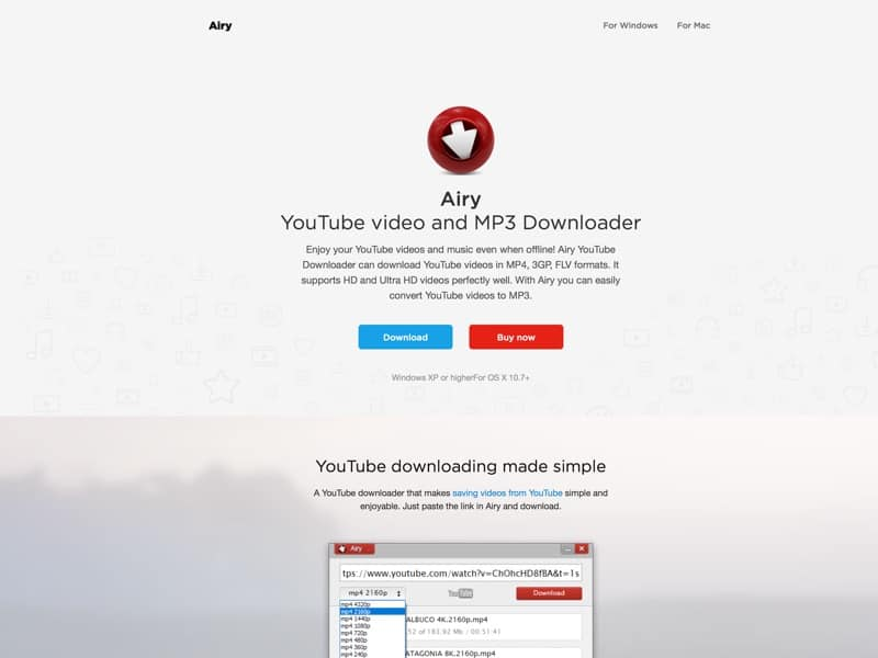 Airy helps to download videos from YouTube in different format types and resolutions for Mac and Windows