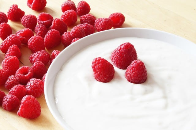 raspberries-on-yogurt