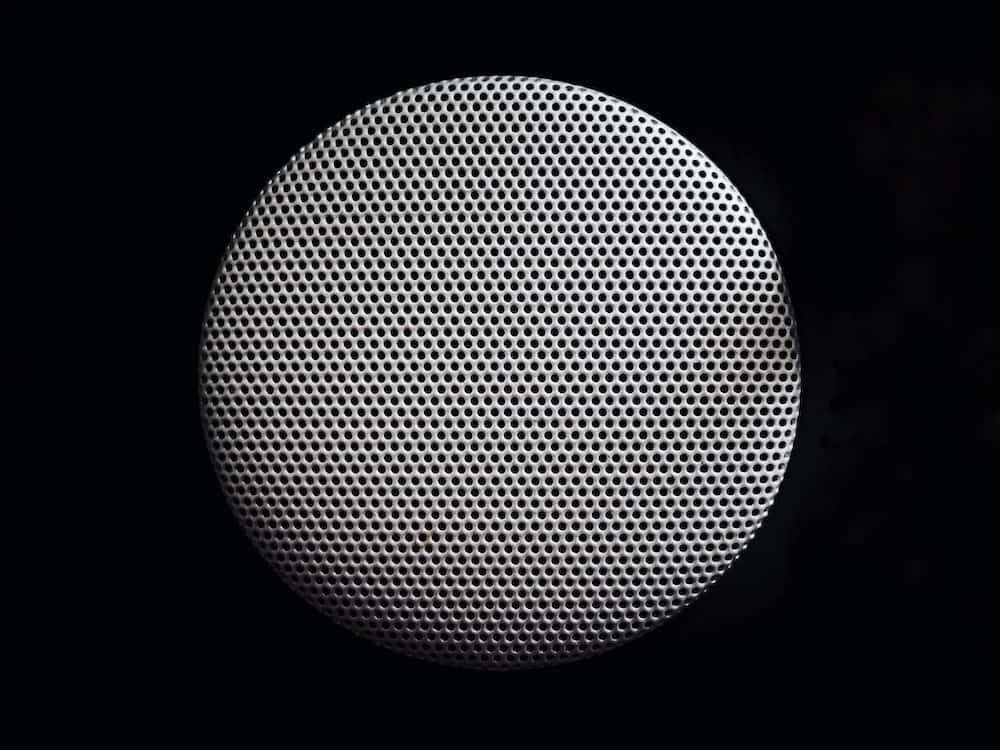 round gray speaker