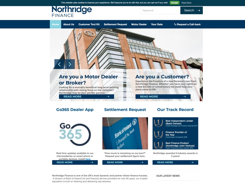 Northridge Finance is one of the UK's most dynamic and partner driven finance houses.  A division of Bank of Ireland UK and financial service providers for