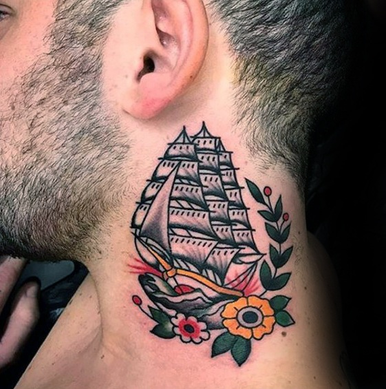 Ship-style-neck-tattoo-design