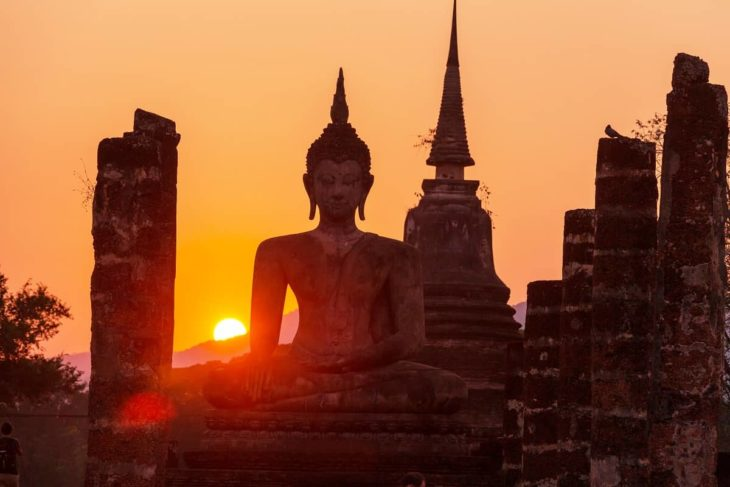 Buddhist Statue During Sunset