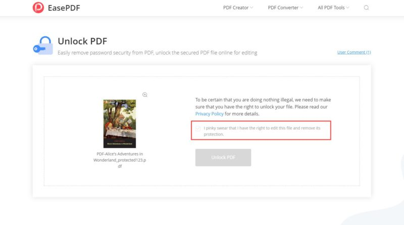 EasePDF Unlock PDF Remove Protection
