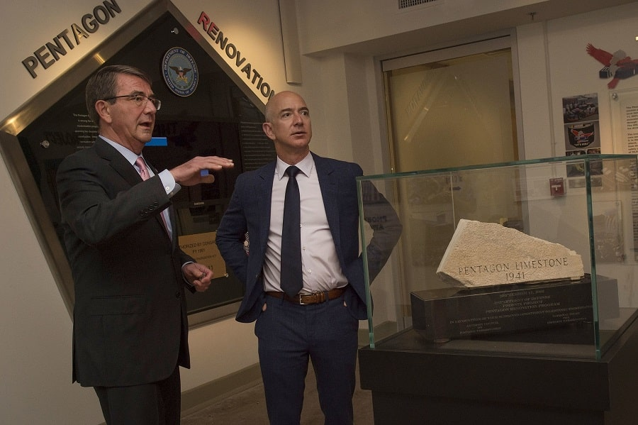 U.S. Secretary of Defense Ash Carter meets with Bezos in 2016 at The Pentagon