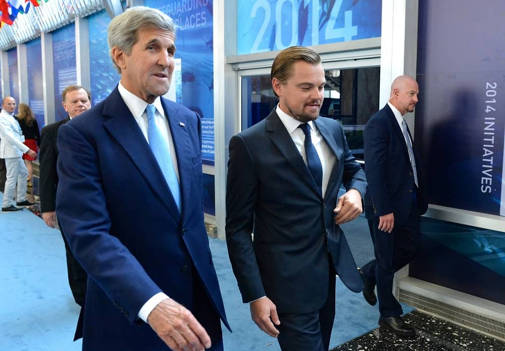 U.S. Secretary of State John Kerry and DiCaprio at the Our Ocean Conference at the U.S. Department of State in September 2016-min