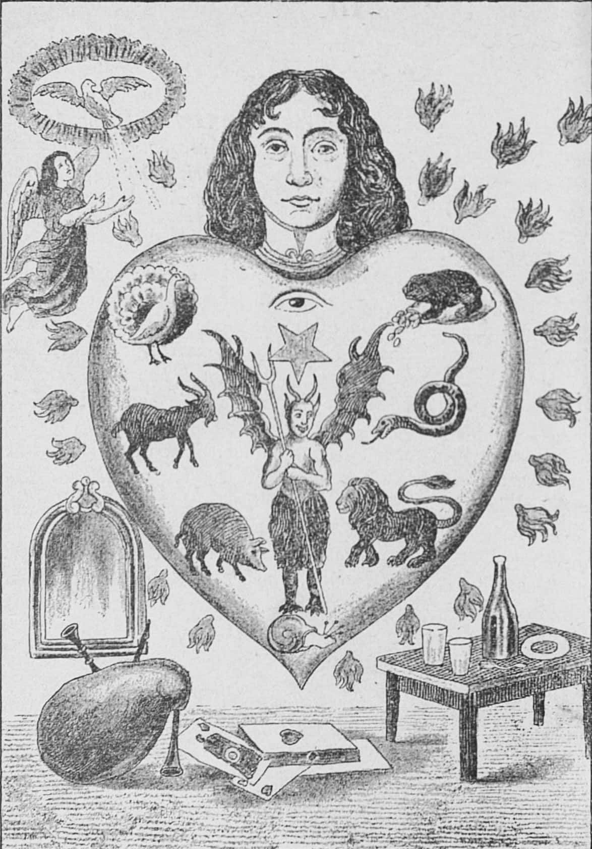 An allegorical image depicting the human heart subject to the seven deadly sins