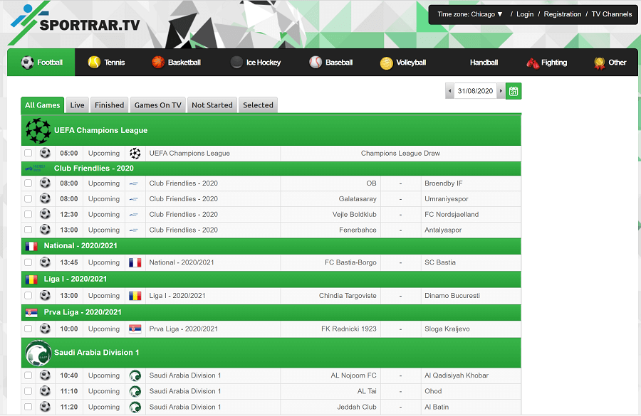 sportrar website screenshot