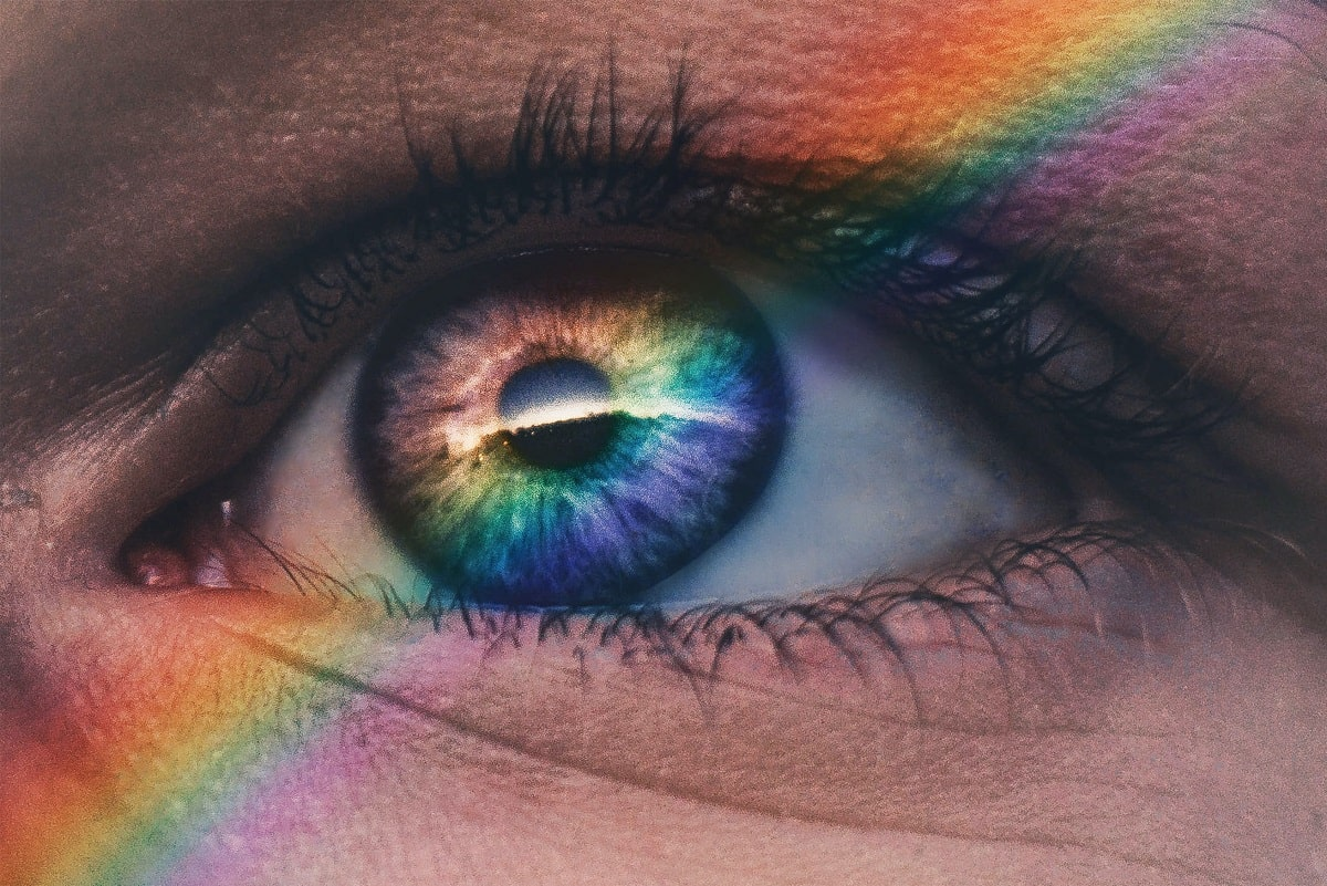 Rainbow Reflected Inside a Human Eye-min